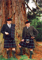 Sandy MacKenzie, former President of the Clan Mackenzie Society, with his brother George MacKenzie, Society Council Member, in the grounds of Culloden House, in April 1994.