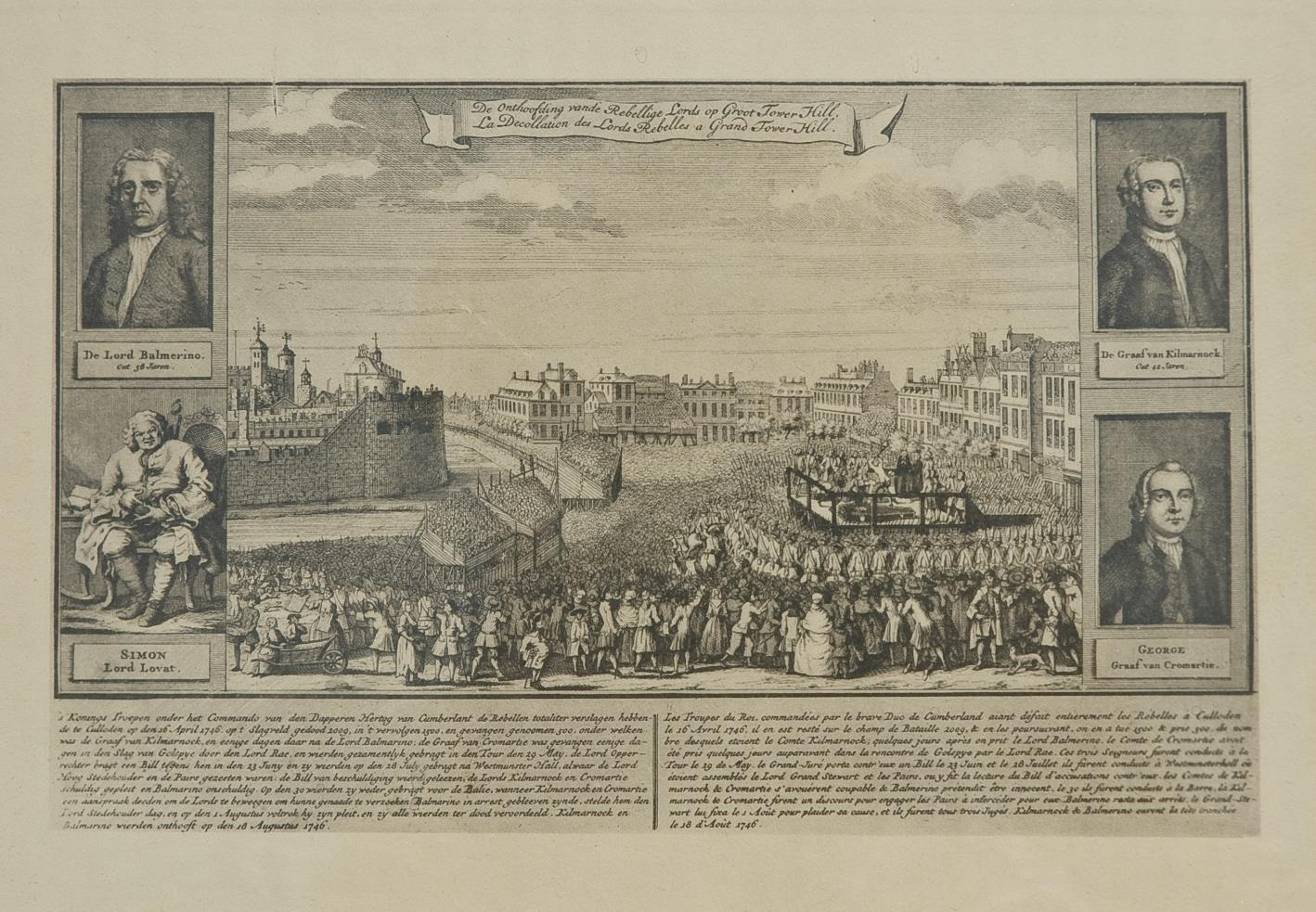 A popular engraving of the condemned Jacobite peers featuring the 3rd Earl of Cromartie alongside Lords Balmerino Lovat and Kilmarnock who were executed on Tower Hill